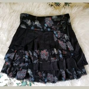 Free People Skirt Small Black Floral Buckles